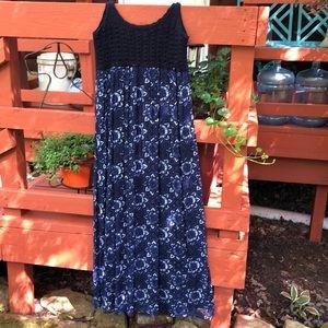 Lucky crocheted top maxi dress, size XL